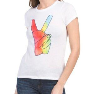 Chaser Brand Rainbow Peace Sign Graphic T-Shirt S